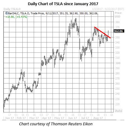 Tesla stock options price
