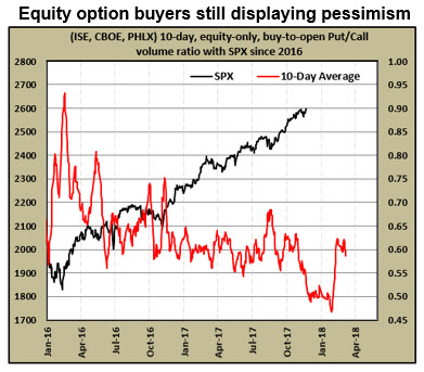 equity put-call ratio shows pessimism