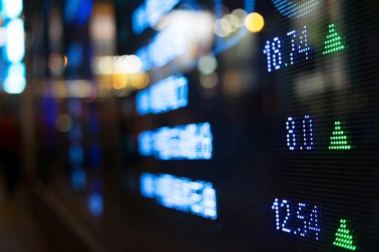 Stock ticker board at NASDAQ