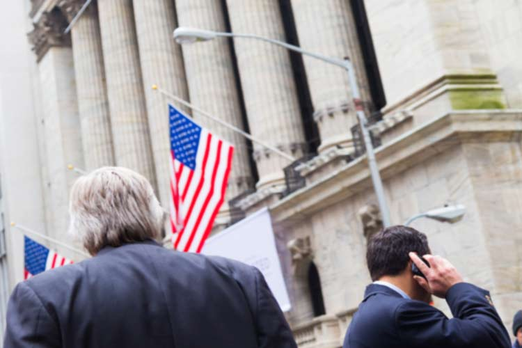 Traders Outside of New York Stock Exchange